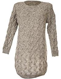 Fashion Italy Damen Longpullover Winter Pullover Lang Longsleeve  Strickpullover mit Rundhals und Zopf Muster Grobstrick Grau e9d2380cee