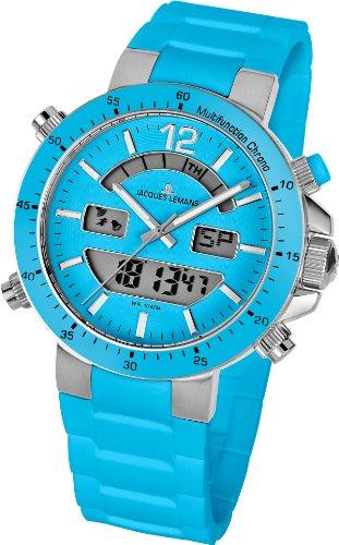 Jacques Lemans - 1-1712L - Montre Mixte - Quartz Analogique - Digital - Cadran Bleu - Bracelet Silicone Bleu