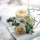 cysincos Sunshine künstlichen Rosen, 10Stk Real Touch Seide Rose Blumensträuße, Beige