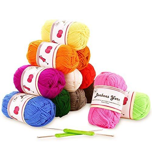Fuyit Häkelgarn 600g (12x50g) Wolle Zum Stricken Acryl Wolle Set Handstrickgarn Baumwollgarn für Häkeln und Kunsthandwerk - 12 Farben