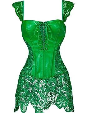 MISS MOLY Corsé|Mujer Vintage Sexi Corset Corsét Gothic Dress Diseño de Encaje Curvado Figura Shape con Tanga...