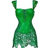 MISS MOLY Damen Gothic Kunstleder Korsagenkleid Schwarz Faux Leder corsage Clubwear, Grün, Gr. XXXXXX-Large