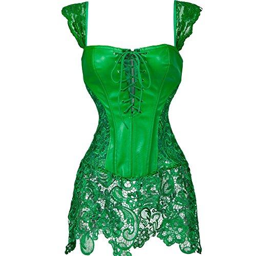 Dress Rocky Fancy Kostüm Horror - MISS MOLY Damen Gothic Kunstleder Korsagenkleid Schwarz Faux Leder corsage Clubwear, Grün, Gr. XX-Large