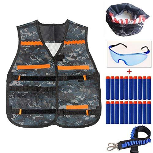 YFMD Kids Camouflage Tactical Weste Jacke Kit (mit 20pcs Blue Foam Darts + Schutzbrille Brille + 1pcs Schultergurt + Seamless Face Mask) für Nerf Toy Gun N-Streik Elite Series