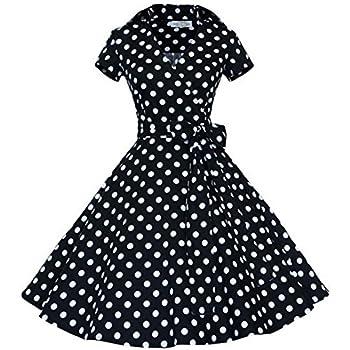 iHAIPI - Elegant Damen Aermellose 1950er Retro Vintage Floral Party Cocktailkleider Abendkleider Sommerkleid Knielang (02. EU 38 (Herstellergröße:M), 04. Schwarz Punkt Weiß)