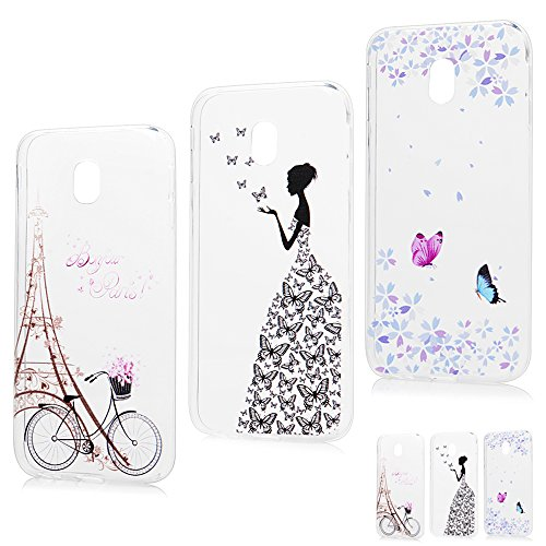 J3 Case 2017, MAXFE.CO for Samsung Galaxy J3 Case 2017 Model Protective Crystal Clear Flexible Silicone Shockproof Cover Case for Samsung Galaxy J3 2017 [3 Pack], Bike & Butterfly Girl & Secret Garden