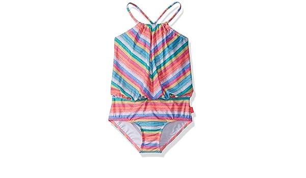 Seafolly Little Girls Stripe Blouson Tank One Piece Swimsuit