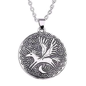 LIKGREAT Nordic Mythologie Flying Pegasus Einhorn und Mond Anhänger Halskette für Mädchen