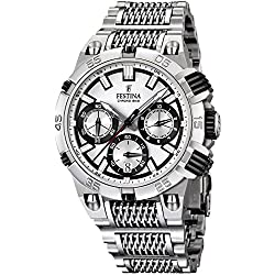 Festina Chrono Bike 2014 Men's Quartz Watch with Silver Dial Chronograph Display and Silver Stainless Steel Bracelet F16774/1