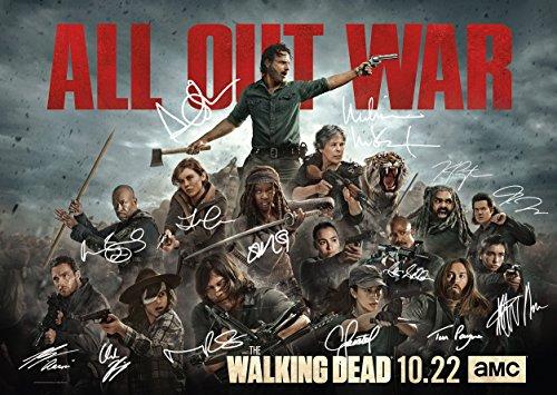 Signiertes The Walking Dead Poster mit Unterschriften von Daryl Dixon, Rick Grimes und Negan mit Lucille (42cm x 30cm)