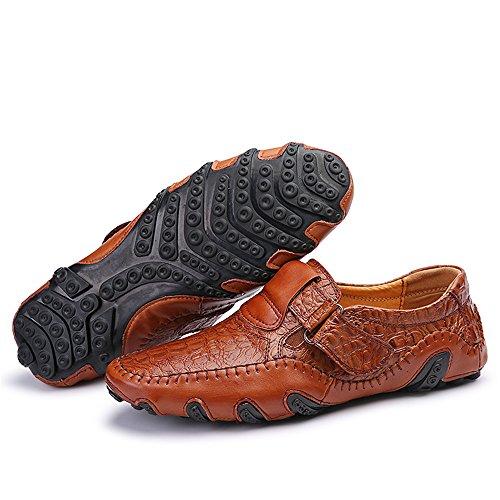 Herren Slipper Elegant Leder Schuhe Business Braun