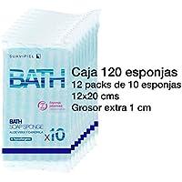 Caja con 120 esponjas jabonosas desechables con grosor extra de 1 cm. Impregnadas con jabón dermatológico aroma Aloe Vera y Camomila.