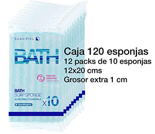 Box mit 120Schwämmen Pack Einwegkamera mit dicke extra imprägnierter 1cm. Mit Aroma Seife dermatológico Aloe Vera und Kamille.