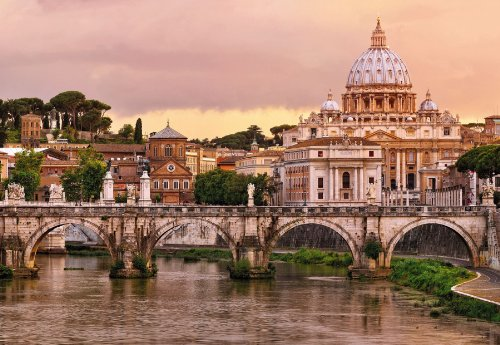 "Preisvergleich Produktbild Komar 8–932368x 254cm ""Italien 's Rom Basilika St. Peter und Brücke Santangelo Vatikan Scenic"" Tapete Wandbild–Pink (8Stück)"