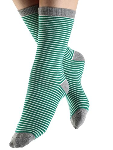 Natur Damen Herren Ringelsocken Socken 98% Bio-Baumwolle 1-3-6 Paar Geringelt Gestreift Damensocken Herrensocken (35-38, natur-grau-grün)