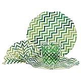 MamboCat 36-TLG. Einweggeschirr Party-Set Hilde Zickzack grün   Pappgeschirr für 8 Personen: Pappteller + Becher + Servietten   für Festliche Anlässe und Partys