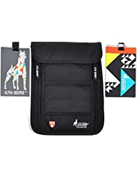 Alpha Keeper Neck Wallet Stash & RFID Pouch and Passport Holder for Travel with 2 Luggage Tags