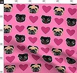 Hund, Mops, Hunde, Herzen, Liebe, Rosa, Valentinstag Stoffe