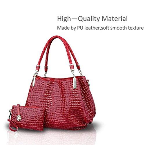Honeymall borse a mano donna lucida Moda coccodrillo Set di 2 borse Borsa messenger + Portafoglio Nero Rosso