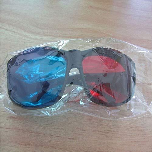 Rot Blau Cyan 3D Kunststoff General Glasses / 3D Brille 10St (Color : Black Frame)