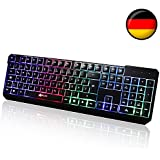 KLIM Chroma Tastatur Gamer QWERTZ DEUTSCHE mit USB-Kabel – Hohe Leistung – bunte Beleuchtung Gaming Tastatur