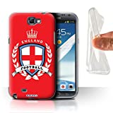 STUFF4 Gel TPU Phone Case / Cover for Samsung Galaxy Note 2 / England/English Design / Football Emblem Collection