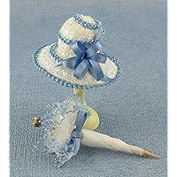 Dolls & Bears Puppenhaus Viktorianisch Damen Blau Hut & Sonnenschirm Miniatur Shop Puppe
