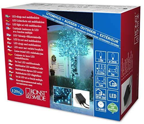 Konstsmide 3631-440 Micro LED Lichterkette / für Außen (IP44) /  24V Außentrafo / mit 8 Funktionen, Steuergerät und Memoryfunktion /120 hellblaue Dioden / schwarzes Kabel