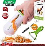 FabQuality No1 Premium Vegetable Spiralizer Veggetti Spiral Slicer COMPLETE BUNDLE x4 - Spiraliser Booklet, Vegetable Cutter, Spiral Booklet, Brush, Peeler, Zucchini Pasta Noodle Spaghetti