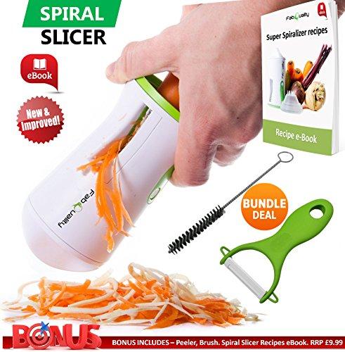 FabQuality No1 Bestseller Premium Gemüse Spiralizer Veggetti Spiral Slicer COMPLETE BUNDLE - Spiralizer Booklet, Gemüseschneider, Spiral Booklet, Pinsel, Schäler, Zucchini Pasta Noodle Spaghetti