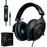 TechVibe 2017 SADES CX-778 PS4 Xbox One 3.5mm Gaming Headset Over-Ear Gaming Headphones With Mic, Volume Control, Noise Cancelling, Headphone Case For PC, Smart Phones, Tablet, Laptops - Blue Black