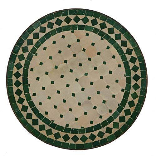Casa Moro Mediterraner Gartentisch marokkanischer Mosaiktisch Ø 45 cm rund grün terrakotta mit Gestell H 55 cm | Kunsthandwerk aus Marrakesch | Handmade Bistrotisch Mosaik-Kunst Balkontisch | MT2995