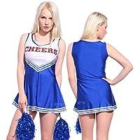 Anladia - Disfraz de animadora Cheerleader para adulta Mujer Mini Vestido sin Mangas con Letras ¨CHEERS¨ Color Azul Talla 36 38 40 42 44 (XS (36))