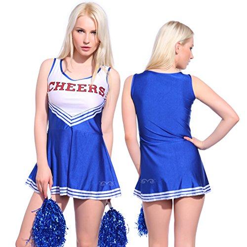 Imagen de anladia  disfraz de animadora cheerleader para adulta mujer mini vestido sin mangas con letras ¨cheers¨ color azul talla 36 38 40 42 44 s 38