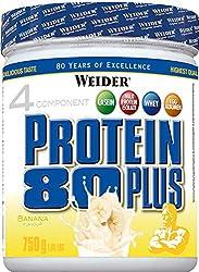 WEIDER Protein 80 Plus Eiweißpulver, Banane, Low-Carb, Mehrkomponenten Casein Whey Mix für Proteinshakes, 750g