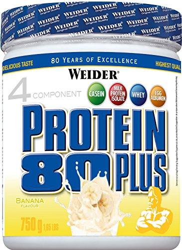 WEIDER Protein 80 Plus Eiweißpulver, Banane, Low-Carb, Mehrkomponenten Casein Whey Mix für Proteinshakes, 750g -