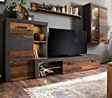 trendteam smart living Wohnwand Old Used Wood grau Matera Anbauwand Rooky 283 x 206 Schrankwand Shabby