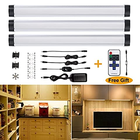 [ Update Version ] S&G® LED Under Counter Lights, Dimmable, Ultra Thin Under Cabinet LED Lighting; 3pcs Panel Lamp Included, Remote Control, Buget-friendly LED Panel Light, World-class Quality