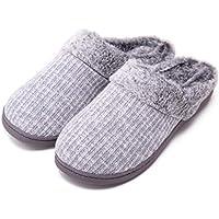 ღLILICATღ Zapatillas Casa Mujer Felpa Más Grueso Zapatillas de Estar por Casa Antideslizante Zapatillas de Interior y Exterior Cálido y Confortable
