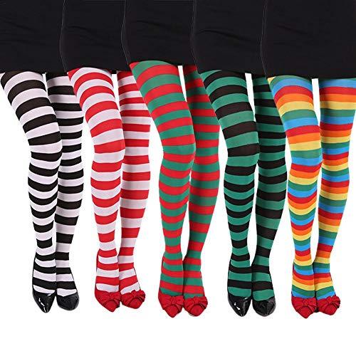 Janny-shop Medias Rayas Mujer Navidad Calcetines Elásticos
