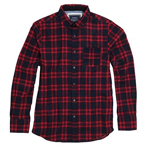 Brave Soul Herren Check Shirt Slater Lange Ärmel Weiche gebürstete Baumwolle mit Classic Point Kragen und Brusttasche Gr. Large, Navy/Red (Jungen Woven Rot Shirt Plaid)