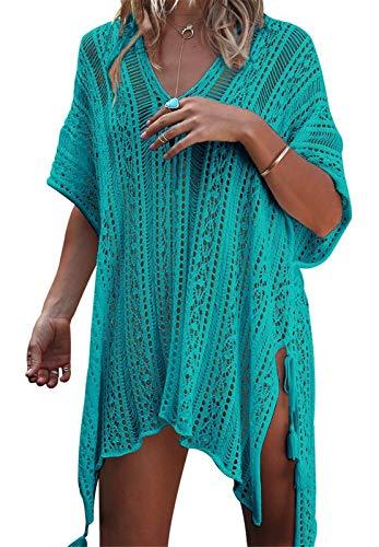 AUPUMI Damen Pareos Strandkleider, Strandkleid Sommerkleid Bikini Badeanzug Cover Up Kleid Bikini Bademode Vertuschen Strandponcho Sommer Kleidung Strand (One Size, Grün) (Midi-bikini-badeanzug)