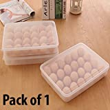 #9: HOMIZE Plastic Egg Storage Container Box with Lid for Fridge, 24 Eggs, Transparent