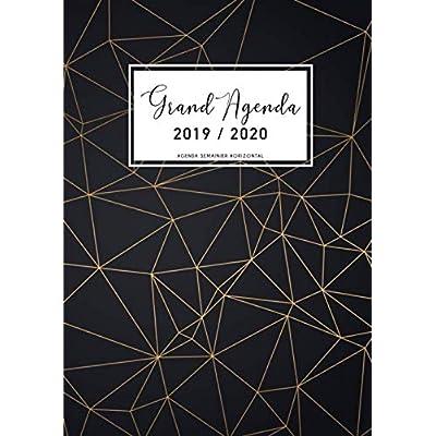 Grand Agenda 2019-2020: Agenda Semainier Horizontal 2019 2020 - Agenda de Juillet 2019 à Décembre 2020, Semainier grand format 21x29cm (Din A4), ... de rendez-vous, motif géométrique noir & or