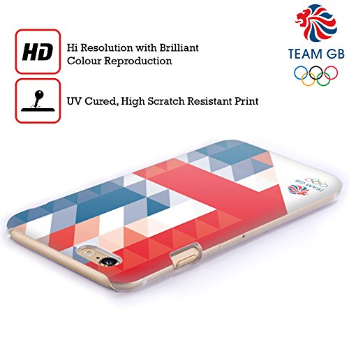 Official Team GB British Olympic Association White Triangle Geometric Union Jack Hard Back Case for Apple iPhone X Triangolo Bianco