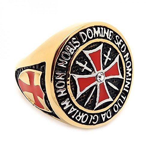 BOBIJOO Jewelry - Ring Siegelring Reihenfolge Templer Mann Gold Ende Rote Kreuz Edelstahl - 18,5 (8 US), Vergoldet - Edelstahl 316