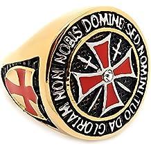 BOBIJOO Jewelry - Anillo Sortija De Sello De La Orden, Los Caballeros Templarios, El