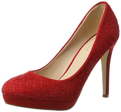 Ital-Design High Heel Damenschuhe Plateau Pfennig-/Stilettoabsatz High Heels Pumps Rot