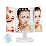 BEQOOL Lighted Vanity Makeup Mirror/Tri-folded Countertop Cosmetic Mirror with 24 LED Lights, Touch Screen, 1x/2x/3x Magnification and Dual Power Mode, 180°ratation,Countertop Cosmetic Mirror