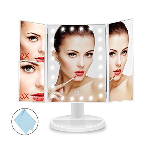 Miroir de maquillage éclairé avec super lumineux 24 LED, BEQOOL Miroir de comptoir à trois plis éclairé cosmétique, grossissement 1x / 2x / 3x et mode double puissance, rotation réglable à 180 °